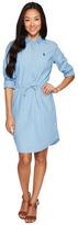 U.S. Polo Assn. Hi-Lo Pullover Shirtdress with Drawstreet Waistband