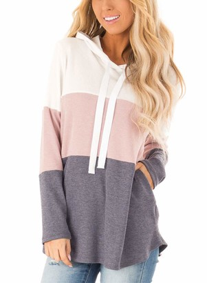 Dearlove Womens Striped Hoodies Color Block Long Sleeve Tunic Sweatshirt Drawstring Jumper Tops with Pockets Size 12 Gray