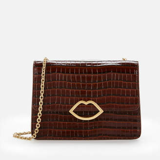 Lulu Guinness Women's Cut Out Lip Croc Polly Shoulder Bag
