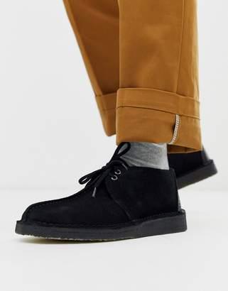 Clarks Desert Trek shoes in black suede