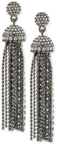 Carolee Hematite-Tone Pavé Tassel Drop Earrings