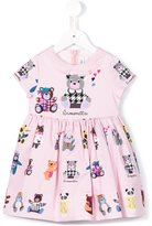 Simonetta bear print dress - kids - Cotton/Polyester/Polyurethane/Spandex/Elastane - 6 yrs
