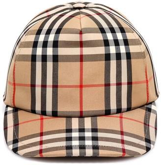 Burberry Logo Applique Vintage Check Baseball Cap