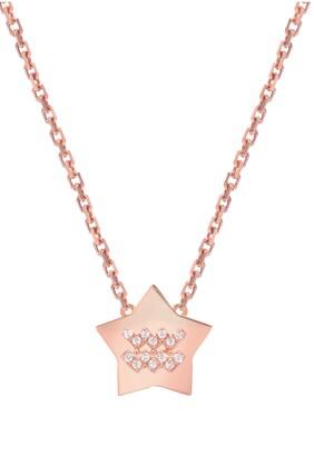 Mini Mini Jewels Framed Diamond Zodiac Sign Star Pendant Necklace