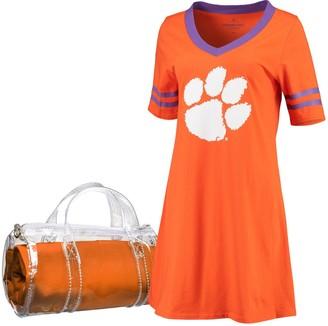 Unbranded Women's Orange Clemson Tigers Football Jersey Night Dress & Mini Duffel Bag Set