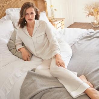 The White Company Silk Piped Pyjama Set, Ivory, Extra Small