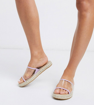 London Rebel wide fit clear vamp espadrille mules in lilac