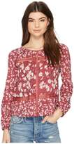Lucky Brand Printed Lace Insert Top Women's Long Sleeve Pullover