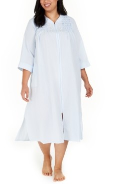 Miss Elaine Plus Size Embroidered Seersucker Long Zipper Robe