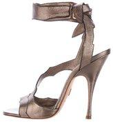 Brian Atwood Metallic Leather Temptation Sandals