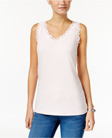 Karen Scott Lace-Trim Tank Top, Only at Macy's