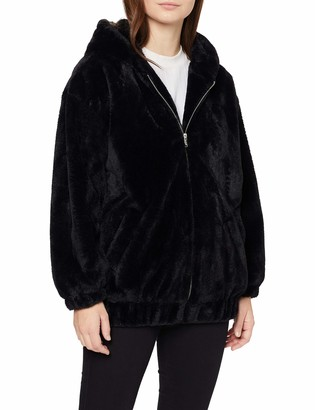 New Look Petite Women's P FRANKIE FUR HOODED BOMBER:1:S14 Jacket (Black (Size:14)