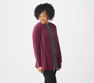Denim & Co. Velour Fit & Flare Jacket with Rib Bomber Collar