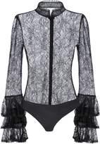 Jonathan Simkhai Tier-Sleeved Black Lace Bodysuit