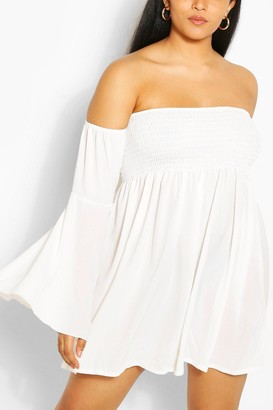 boohoo Plus Shirred Off Shoulder Wide Sleeve Shift Dress