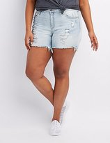 Charlotte Russe Plus Size Cello Destroyed Bermuda Shorts