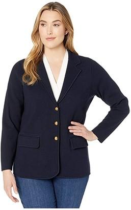 Lauren Ralph Lauren Plus Size Combed Cotton Nylon Long Sleeve Blazer (Lauren Navy) Women's Clothing