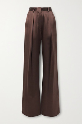 Michael Lo Sordo Pleated Silk-satin Wide-leg Pants - Brown