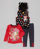 Children's Apparel Network Black Sweet Strawberry Pants Set - Infant Toddler & Girls