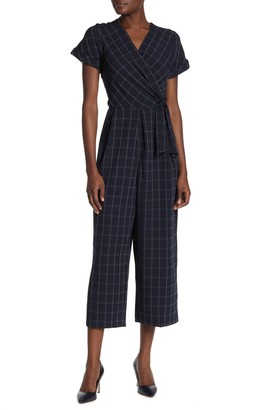 Robbie Bee Short Sleeve Check Print Jumpsuit