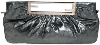 Fendi Metallic Grey Leather Cutout Handle Clutch
