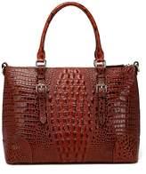 Vicenzo Leather Carole Croc Embossed Leather Handbag