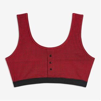 Joe Fresh Women+ Button Detail Bralette, Red (Size 1X)