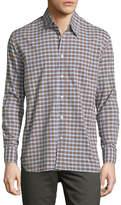 Billy Reid John Check Oxford Shirt, Brown/Blue