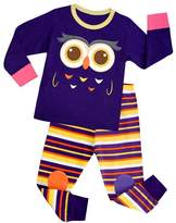 Huata Owl Little and Big Girls 2 Piece 100% Cotton Pajamas Sets Kids Pjs (7T)