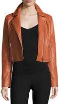 Elizabeth and James Gigi Cropped Leather Jacket, Cinnamon