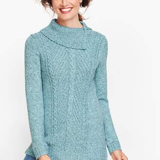 Talbots Split Cowlneck Cable Sweater - Marled