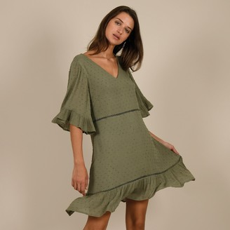 Molly Bracken Ruffled Mini Dress with 3/4 Length Sleeves