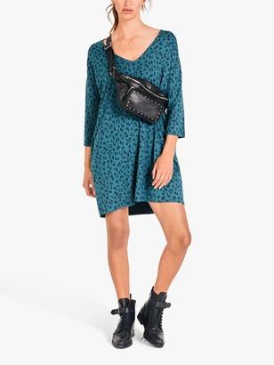 Hush Iris V-Neck Leopard Print Mini Dress, Blue