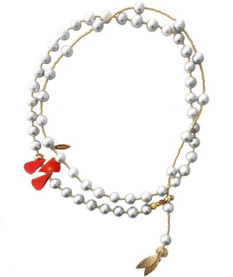 Farra Grey Freshwater Pearls With Floral Corals Multi-Way Necklace
