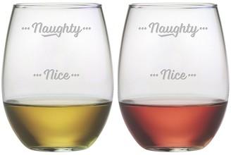 Susquehanna Glass Naughty to Nice Stemless Wine Tumbler (Pair of 2) 21 oz