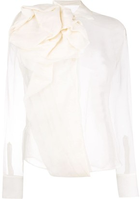 Christian Dior Pre-Owned Draped Design Sheer Blouse
