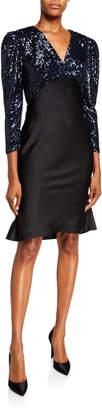 Sachin + Babi Louisa Sequin Bodice V-Neck Mutton Sleeve Cocktail Dress