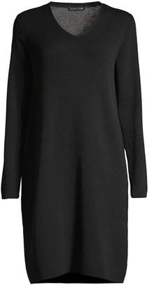 Eileen Fisher V-neck Wool Sweater Dress