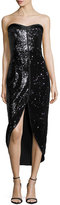 Halston Heritage Strapless Sequined Cocktail Dress, Black