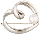 Mikimoto 18K Pearl Heart Brooch
