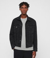AllSaints Men's Cotton Relaxed Fit Branscombe Denim Jacket, Black, Size: S