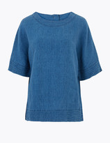 Per Una UsMarks and Spencer Pure Linen Relaxed Short Sleeve Blouse