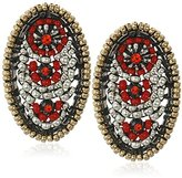 Miguel Ases Small Gunmetal Red Swarovski Post Earrings