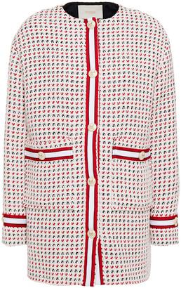 Maje Grosgrain-trimmed Cotton-blend Tweed Jacket