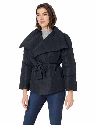 Lark & Ro Amazon Brand Women's Long Sleeve Short Puffer Coat with Wrap