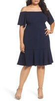 Vince Camuto Plus Size Women's Crepe Off The Shoulder Dress