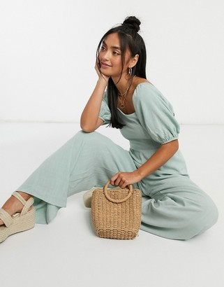 ASOS DESIGN square neck linen jumpsuit with tie back detail in sage green