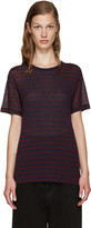 Alexander Wang Red and Navy Striped T-shirt