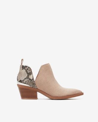 Express Side Slit Metal Heel Snakeskin Booties