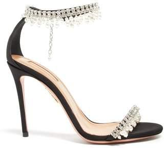 Aquazzura Exquisite 105 Crystal-strap Sandals - Womens - Black